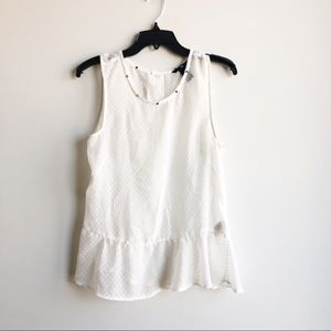 H&M White Peplum Blouse Top Gold Studded 8 Medium